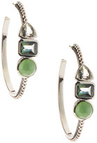 Stephen Dweck Sterling Silver Green 3-Stone Hoop Earrings