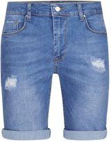 Antioch Blue Distressed Stretch Skinny Denim Shorts*
