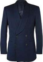Gieves & Hawkes - Navy Double-breasted Cotton Tuxedo Jacket