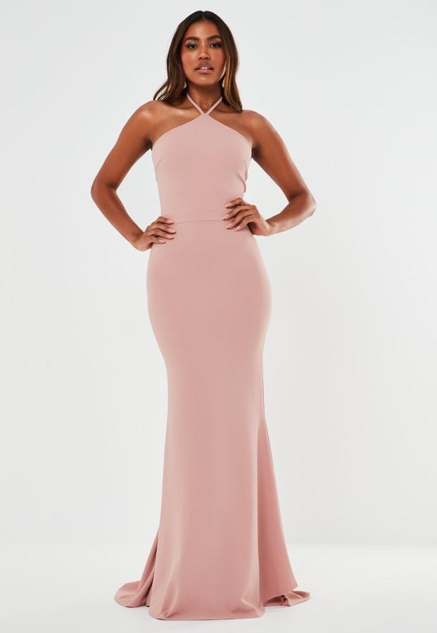 Missguided Blush Halterneck Fishtail Maxi Bridesmaid Dress