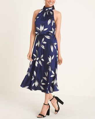 Adrianna Papell Floral-Print Halter Midi Dress
