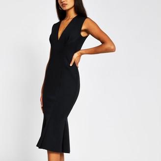 River Island Womens Black sleeveless v neck bodycon midi dress