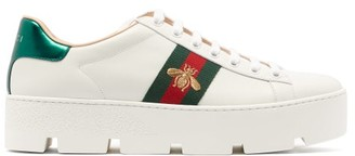 Gucci Ace Leather Flatform Trainers - White