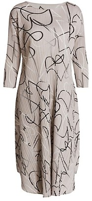 Pleats Please Issey Miyake Conductor Printed Dress