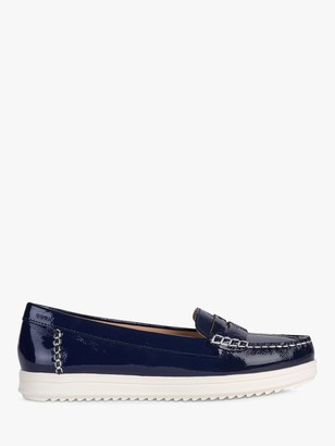 Geox Women's Genova Patent Leather Moccasins, Blue