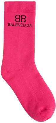 Balenciaga Logo Cotton Blend Socks