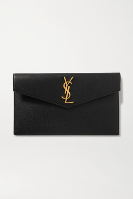 Saint Laurent Uptown Textured-leather Pouch - Black