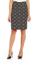 Kasper Geometric Jacquard Straight Skirt