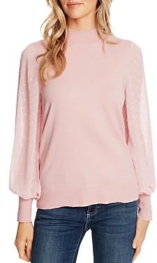 CeCe Blouson-Sleeve Mock Neck Sweater