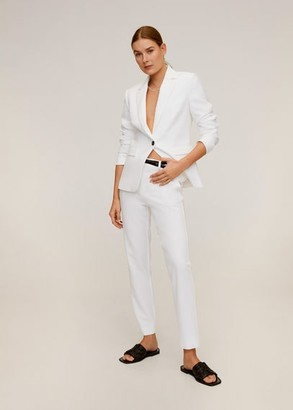 MANGO Belt suit pants white - 1 - Women