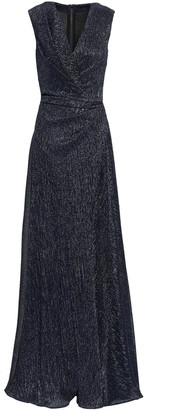 Talbot Runhof Wrap-effect Lame Gown