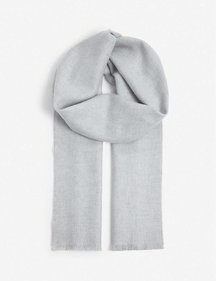 Johnstons Checked personalised ultra-fine wool scarf