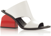 Marni Natural White Calf Leather Mule with a Red Heel