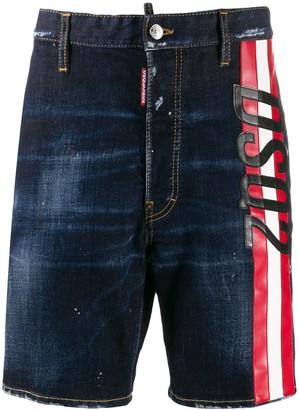DSQUARED2 Striped Logo Denim Shorts