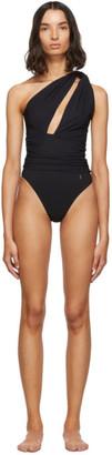 Saint Laurent Black Draped Single-Shoulder Swimsuit
