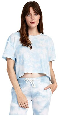 Alternative Relaxed Tie-Dyed Flowed Crop Top (Coral Printed Tie-Dye) Women's Clothing