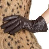 Nappaglo Nappa Leather Gloves Warm Lining Winter Embroidered Imported Leather Lambskin Gloves for Women (M, )