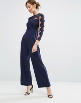 Club L Lace Mesh Upper Jumpsuit With Straight Leg