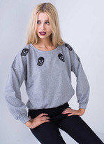 Missy Empire Priya Grey Sequin Skull Print Sweatshirt