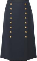 Michael Kors Button-detailed wool-broadcloth skirt
