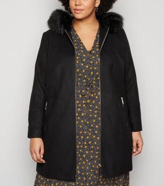 New Look Curves Faux Fur Trim Coat