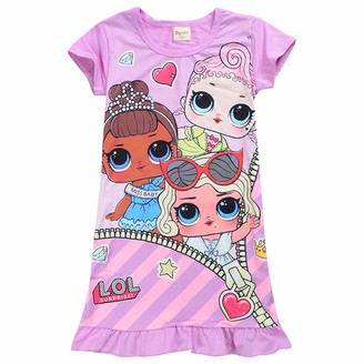 Dgfstm Cute Dolls Printed Comfy Loose Fit Pyjamas Girls Dress Nightgown (purple1 150(9-10years))
