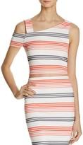 Aqua Textured Stripe Asymmetric Crop Top - 100% Exclusive