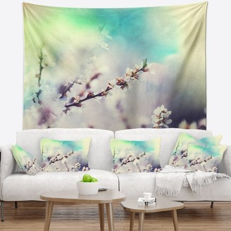 Design Art Designart 'White Cherry Blossoming Flowers' Floral Wall Tapestry