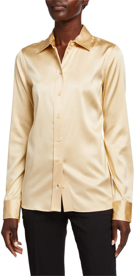 Bottega Veneta Silk Twill Button-Front Blouse