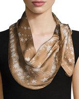 Roberto Cavalli Star Floral Printed Silk Scarf, Camel