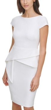 Vince Camuto Petite Draped-Front Bodycon Dress