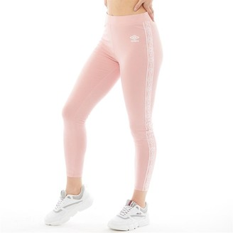 Umbro Womens Active Style Cotton Taped Leggings Pale Pink