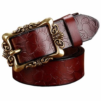 PmseK Fashion Wide Genuine Leather Belts For Women Vintage Floral Pin Buckle Woman Belt High Quality Second Layer Cowskin Jeans Strap Coffee Big Flower 90cm
