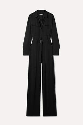 Jason Wu Belted Crinkled-gauze Jumpsuit - Black