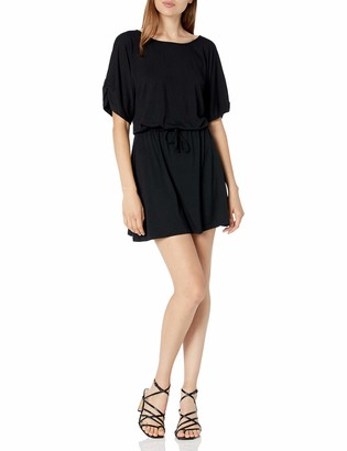 Michael Stars Women's Drawstring Dress with Ruches Sleeves