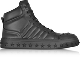 Jimmy Choo Cassius Black Leather High Top Sneakers w/Stars