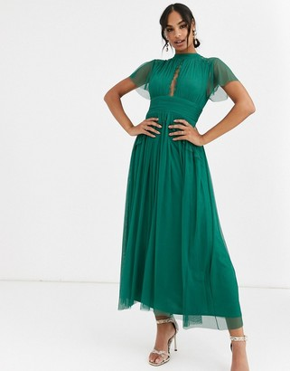Anaya With Love midi dress in tulle with lace insert in emerald green
