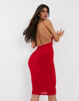 Club L London open back midi dress with ruched back detail in red