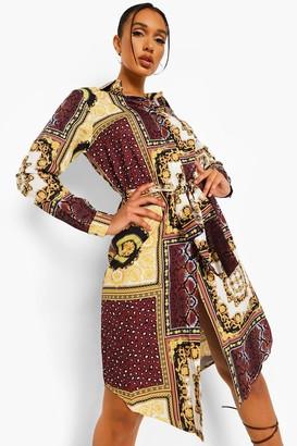 boohoo Mixed Chain Print Belted Midi Shirt Dress