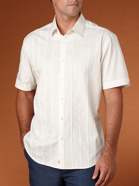 Cubavera Slim Fit Front Tuck with Stitch Embroidery Shirt