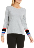 Vince Camuto Stripe-cuff Sweater