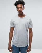 Selected T-Shirt with Curved Hem in Melange