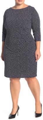 Eliza J 3/4 Length Sleeve Geometric Print Side Ruched Dress