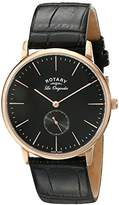 Rotary Men's gs90053/04 Analog Display Swiss Quartz Black Watch
