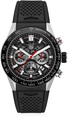 Tag Heuer Carrera 45MM Stainless Steel & Ceramic Rubber Strap Automatic Chronograph Watch
