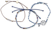 Unwritten 3-Pc. Set Two-Tone Bead, Cord & Charm Adjustable Bracelets