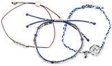 Unwritten 3-Pc. Set Two-Tone Bead, Cord & Charm Adjustable Bracelets