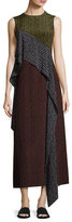 Diane von Furstenberg Sleeveless Dot-Print Silk Ruffle-Trim Maxi Dress, Multicolor