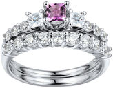 JCPenney FINE JEWELRY DiamonArt Pink & White Cubic Zirconia Sterling Silver 3-Stone Bridal Ring Set