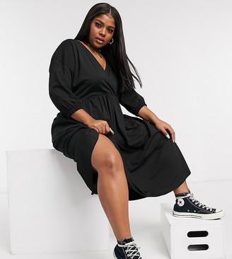 ASOS DESIGN Curve midi smock dress with wrap top in black